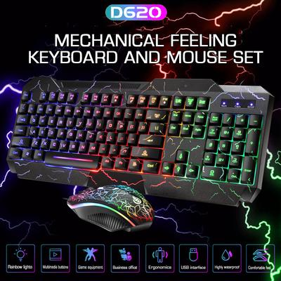 Wired Gaming Keyboard and Mouse Set Game Dedicated MUZIWENJU T21 Backlit Computer Mouse and Keyboard Set Mechanical Keyboard Feel Office Color : Orange Backlight