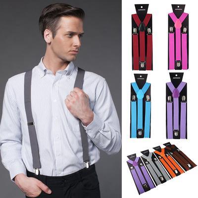 Suspenders Plain Pattern Unisex Neon White Black Y-Shape