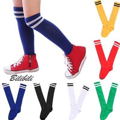 Wonque Unisex Cotton Football Socks Long Tube Solid Color Stripe Soccer Socks Breathable Socks 1Pair
