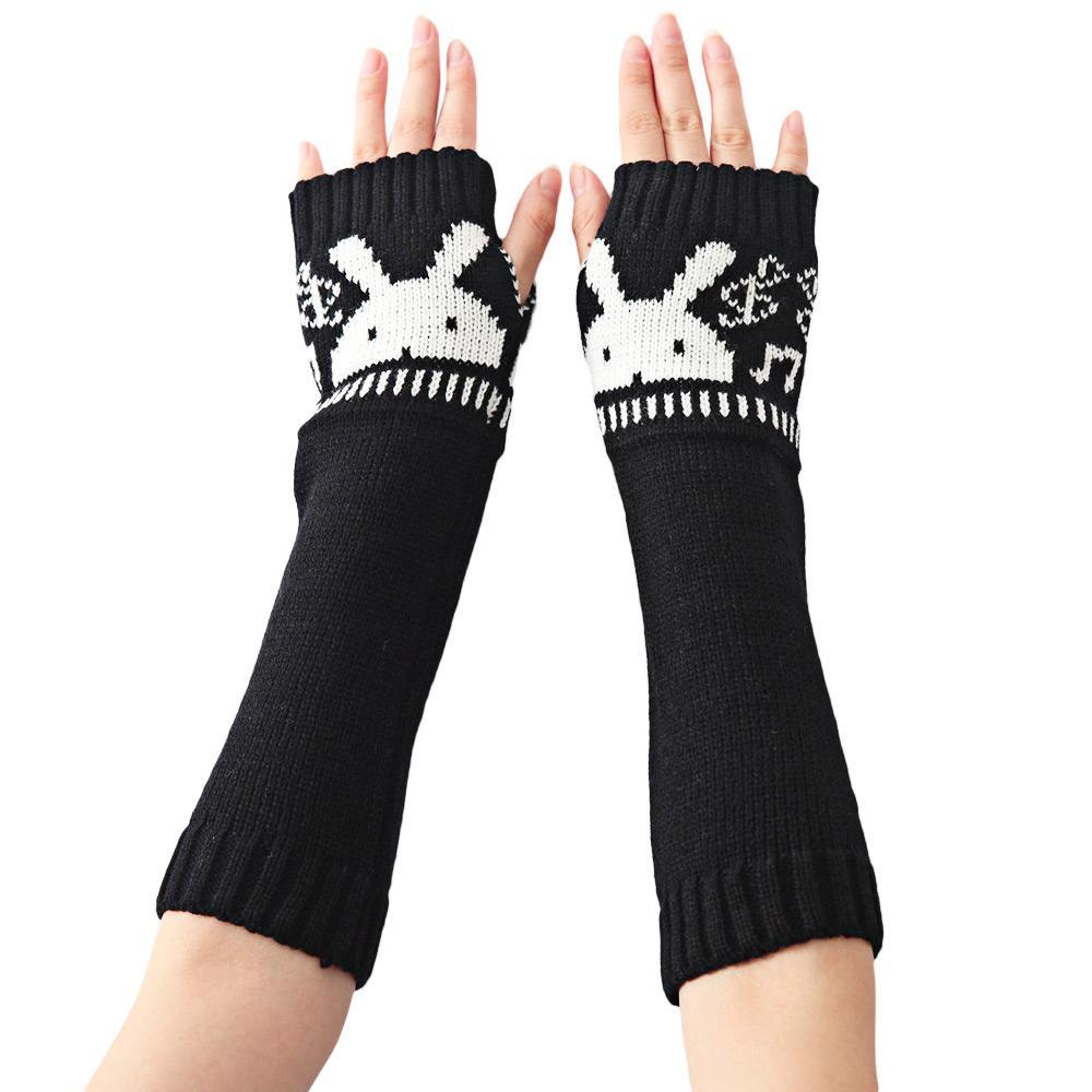 Dulce conejo decoración dedo abierto caliente tejer guantes largos ...