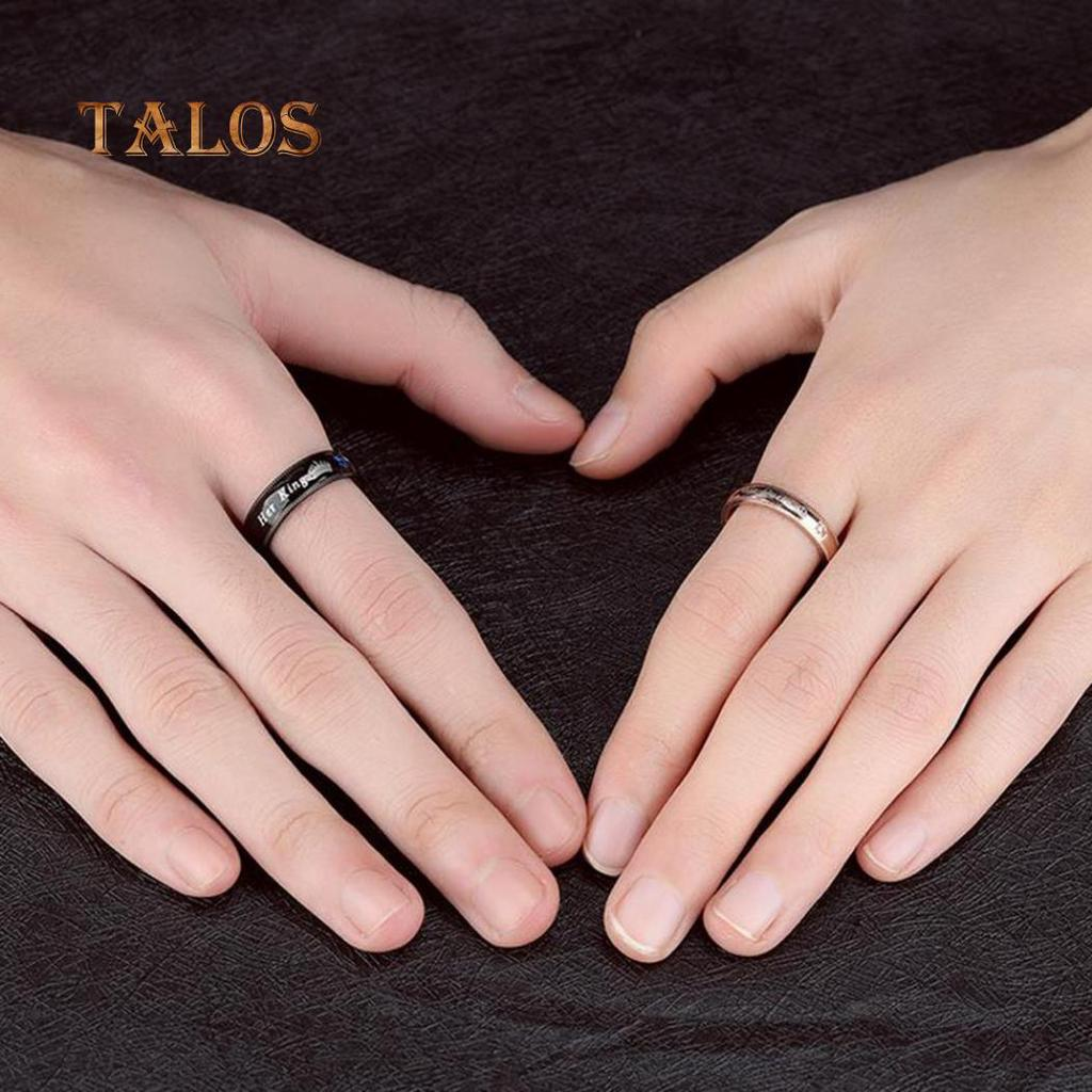 Steel Rhinestone Titanium Her King His Queen Couple Finger Rings ...
