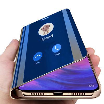 Luxury S-View Mirror Flip Leather Full Bracket Phone Case for Huawei Samsung Xiaomi Redmi iPhone