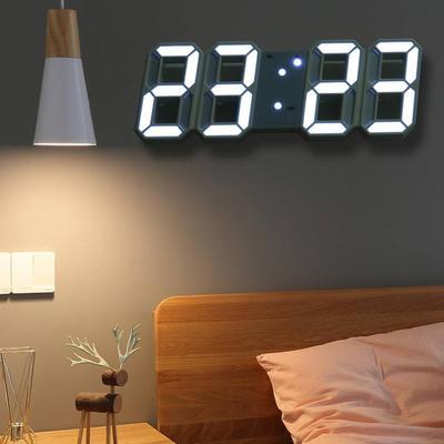 LED Digital Wall Clock Brightness Desk Alarm Clock Wall Hanging Snooze Function