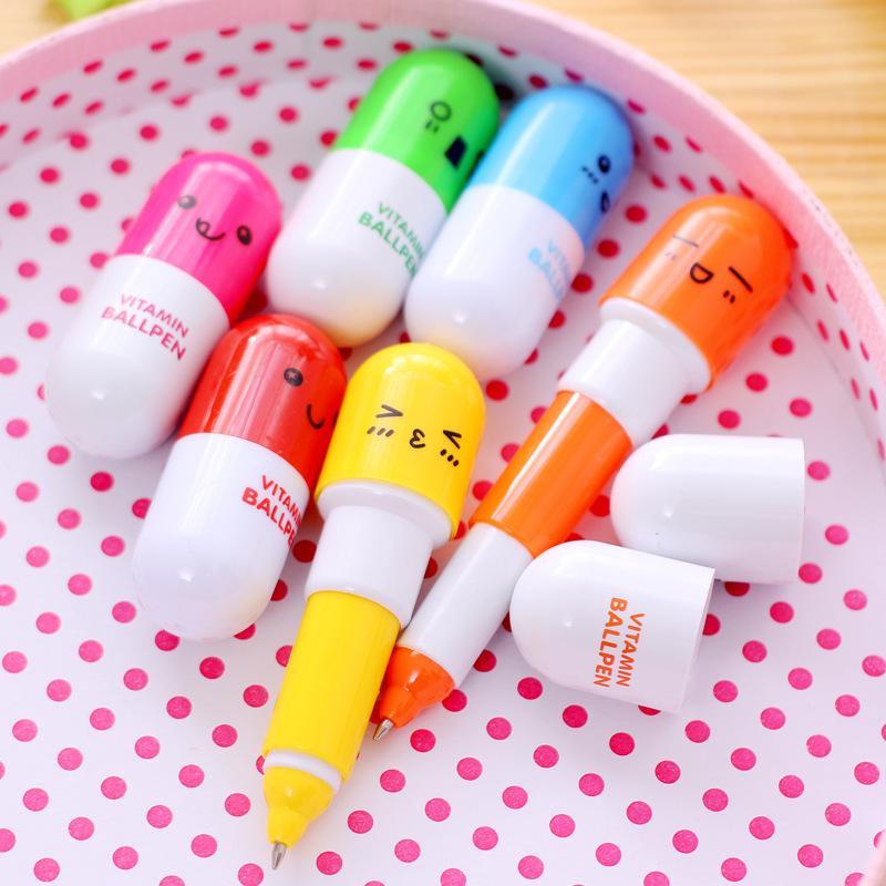 Cute Novelty Pill Shape Smile Face Student Ballpoint Pen Retractable Mini Pen G