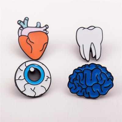 4Pcs/Set Women Eye Heart Brain Human Organs Brooch Collar Pin Jewelry Accessories