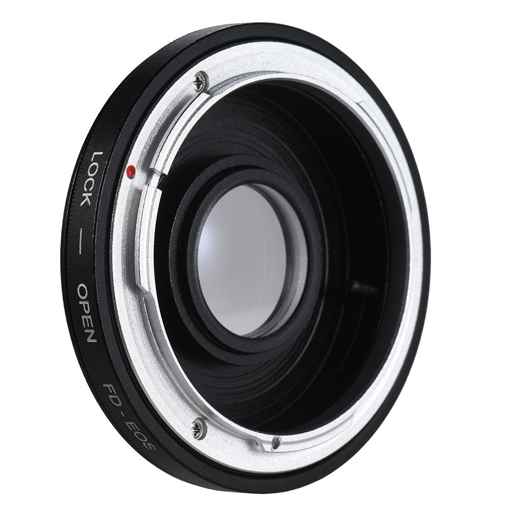 FD Lens to EOS EF Body Mount Adapter Ring Infinity Focus Lens Mount Adapter with Glass for EOS-58 Shooting Ring Black