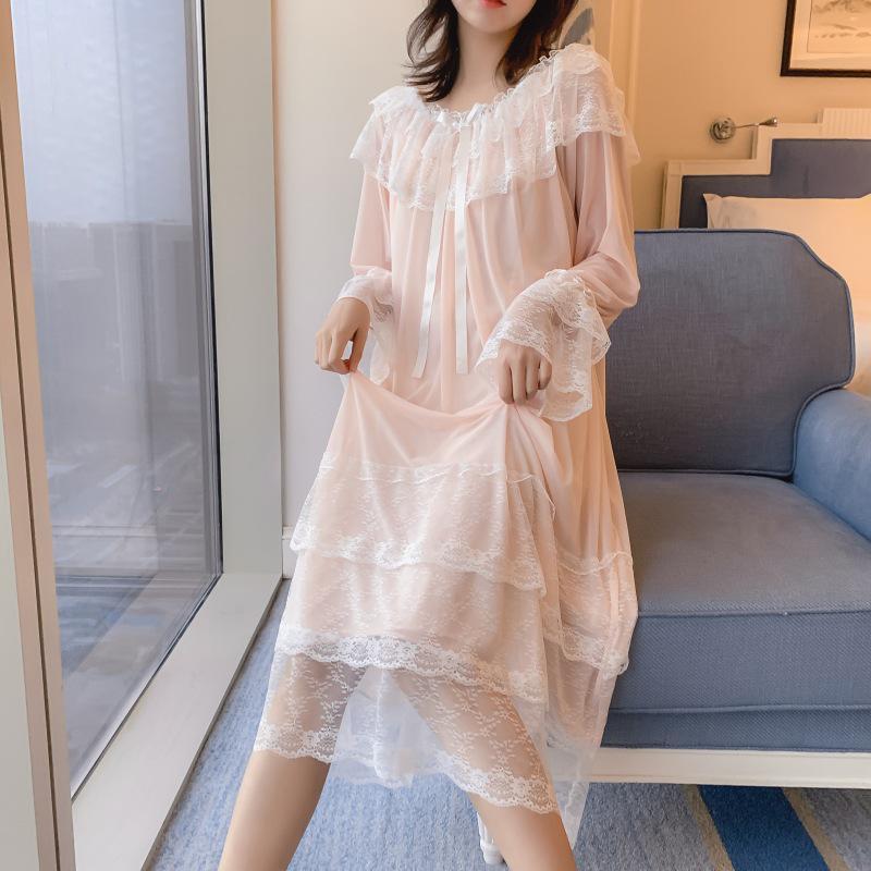 Женская ночная рубашка Lady Lolita с кружевной отделкой, винтажная ночная рубашка с длинным рукавом, одежда для сна – купить по низким ценам в интернет-магазине Joom