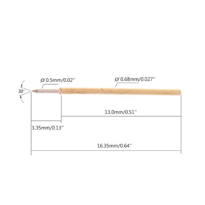 100 Pcs Spring Test Probe Pogo Pin P50-B1 Dia 0.5mm Length 16.35mm