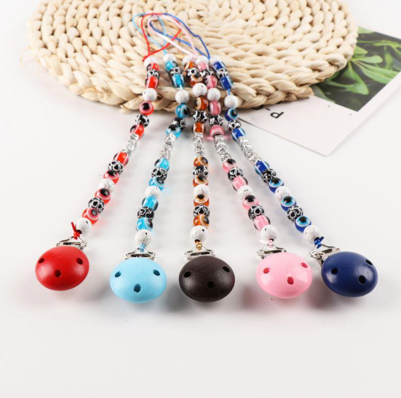 Baby Kids Pacifier Clip Chain Blue Eyes Beads Dummy Soother Nipple Strap Holder