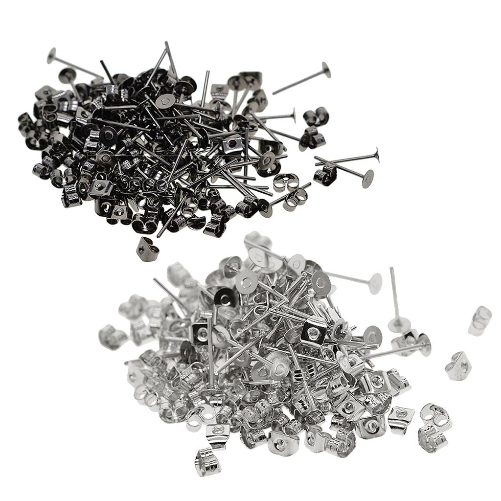 200x EARRINGS POSTS with Flat Pad Ear Stud Findings for Jewelry Making Craft