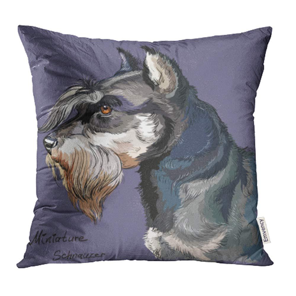 Colorful Adult Miniature Schnauzer Hand Drawing Purple Animal Cub Pillow Case Cover 20x20inch 50x50cm Buy At A Low Prices On Joom E Commerce Platform