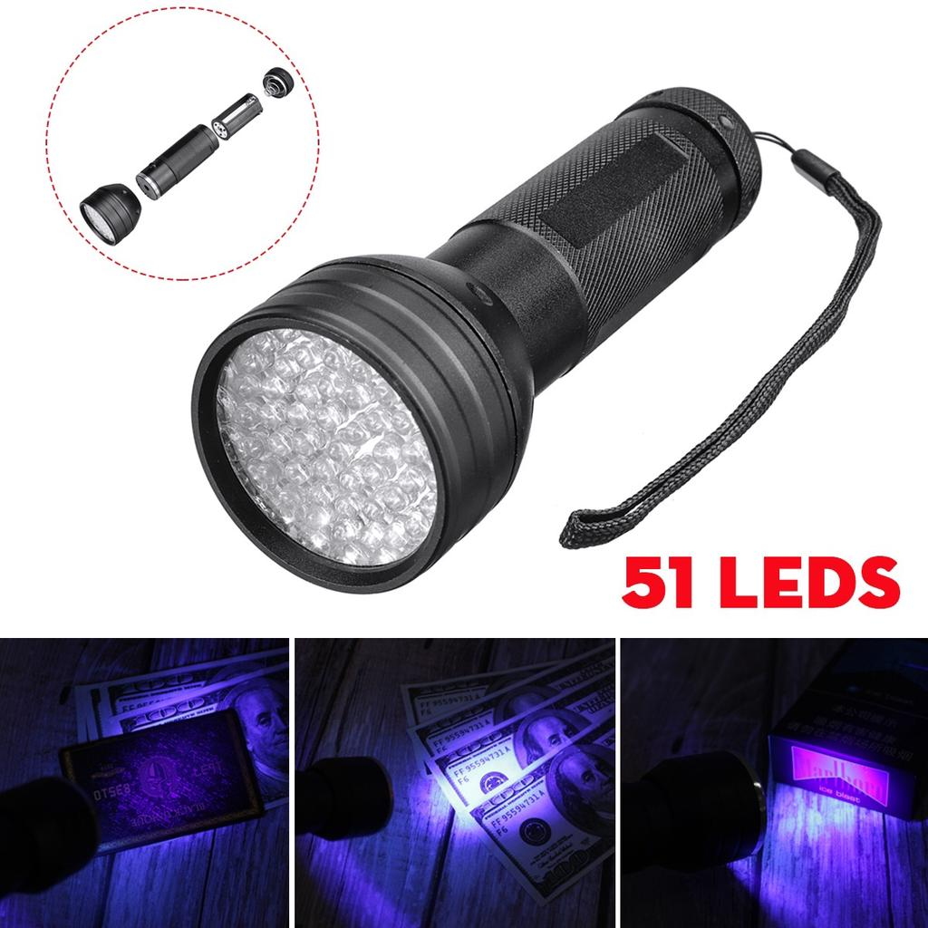 UV Ultra Violet 21 LED Flashlight Mini Blacklight Aluminum Torch Light Lamp Kit