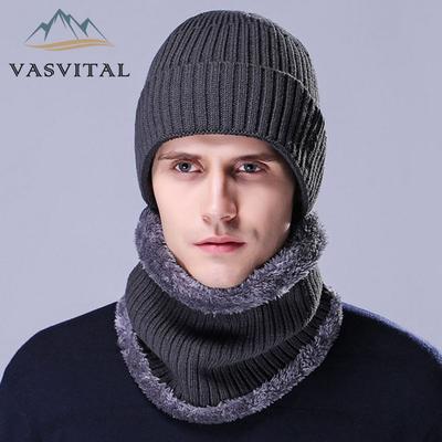 dcffdacf910 Mens Hat Scarf Two-Piece Winter Sets Warm Fur Snow Hats Men S Wool Hat Ear