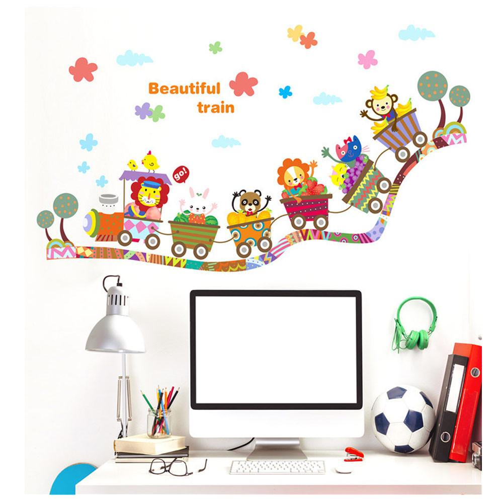 Cartoon Animal Zoo Circus Train Children DIY Removable Kids Wall Stickers Decals