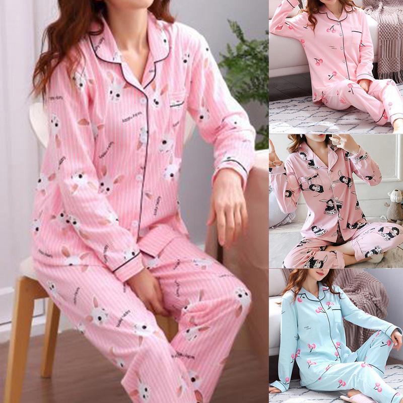 Women/'s Girls Cute Pyjamas pj Set Long Sleeve Top Nightwear Wear Set Lounge K6R7