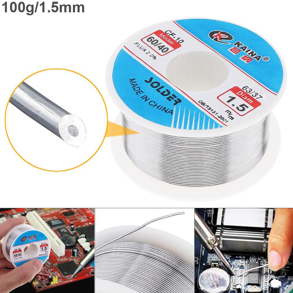 60//40 100g 1.5mm Tin Fine Wire Core 2/% Flux Welding Solder Wire for Solder Iron