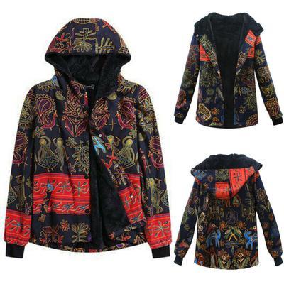 Floral Fleece Hoodie Women Winter Warm Hooded Coat Outwear Tops Jacket Plus Size