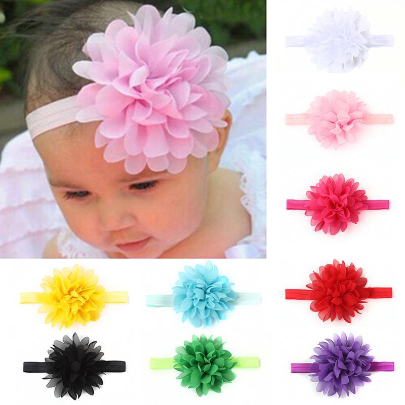Fashion Headband Elastic Baby Soild Color Rose Flower Hair Band For Girls Kids