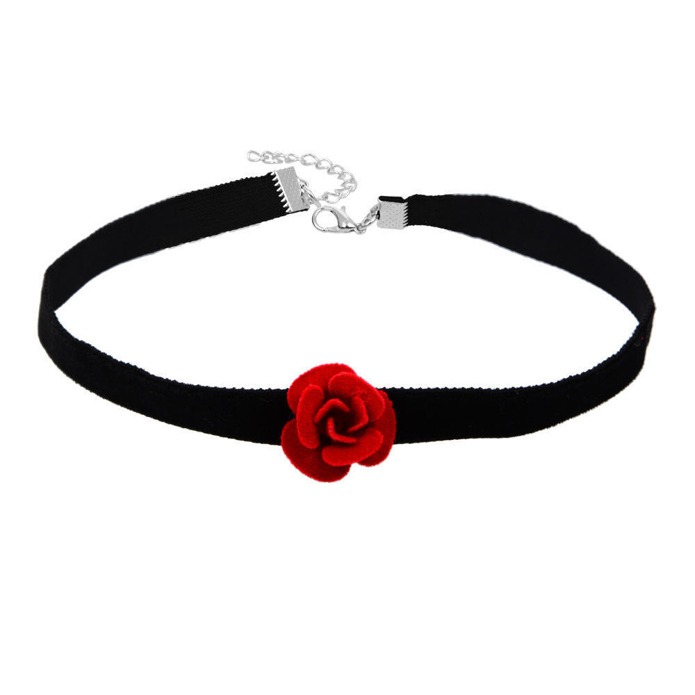 2pcs Black Red Choker Collar Victorian Style Fashion Jewelry with Bowknot