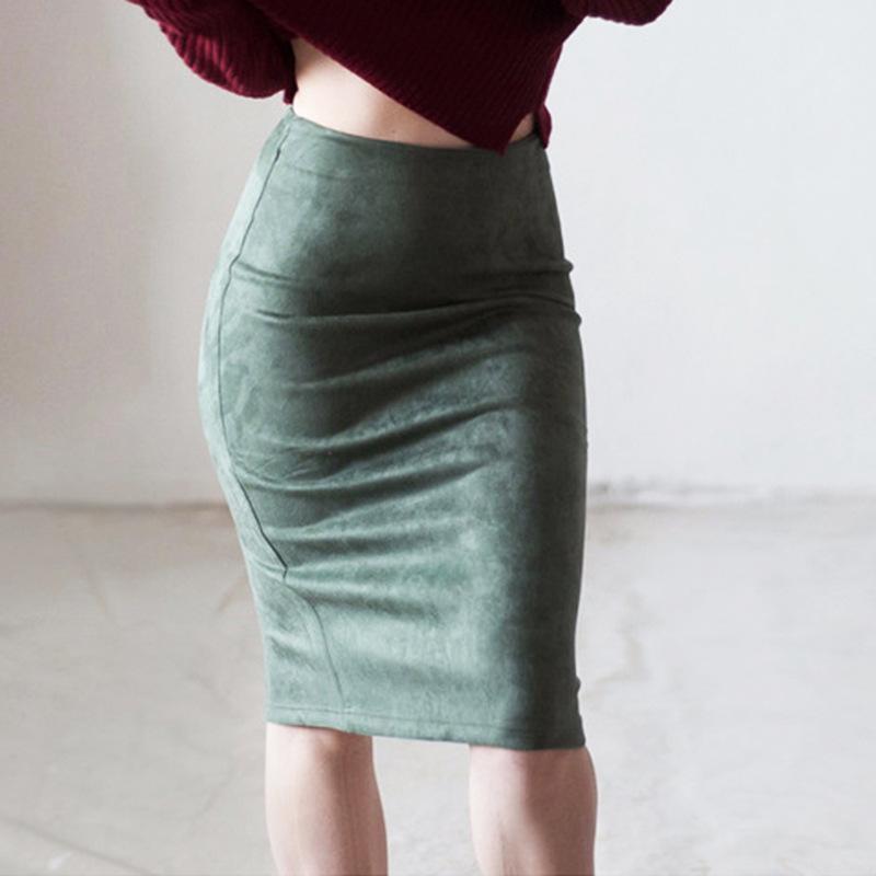 速卖通麂皮半身裙纯色开叉鹿皮绒半身裙高腰包臀显瘦百搭裙子