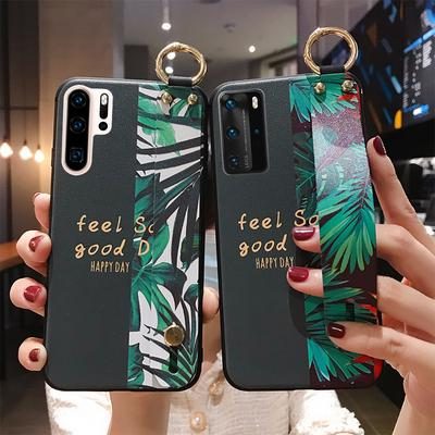 Patterned Relief Hand Strap Cover For Huawei P40 Pro P30 P20 Mate 30 Wrist Strap Phone Holder Case
