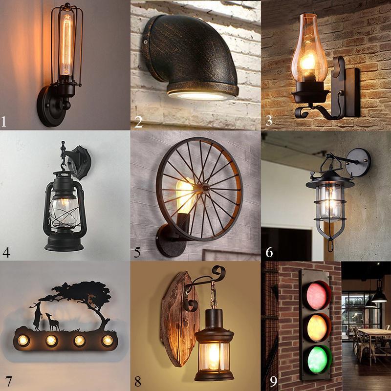 Industrial Wall Lamp Vintage Iron Pipe Bulb Holder Sconce Loft Bar Light Fixture