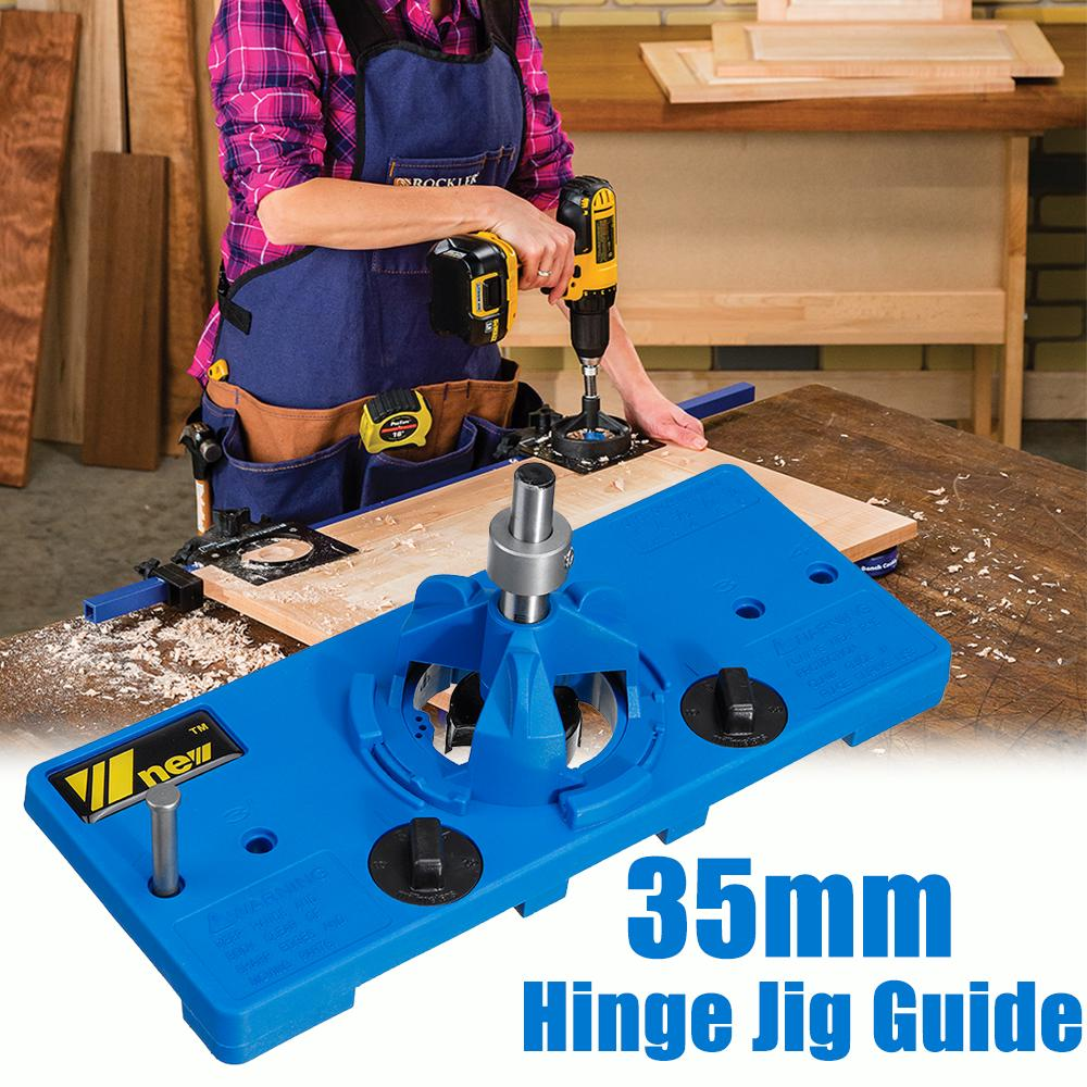 35mm Concealed Hinge Hole Jig For Cabinet Door Wood Tools Saw Locator Guide X4Q1