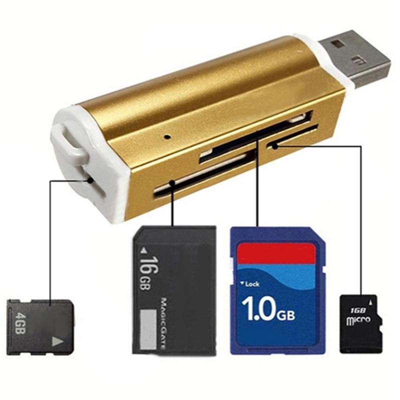 Portable Anti-Lost Design Metal 2-in-1 USB 2.0 High Speed Memory Card Reader for SD TF MS Micro