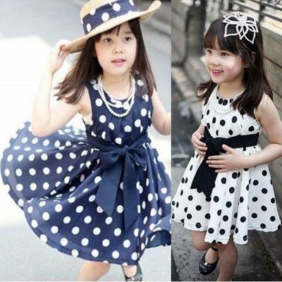 3e28dec2f Polka Dot Kids niñas vestido ropa partido Bowknot sin mangas ...