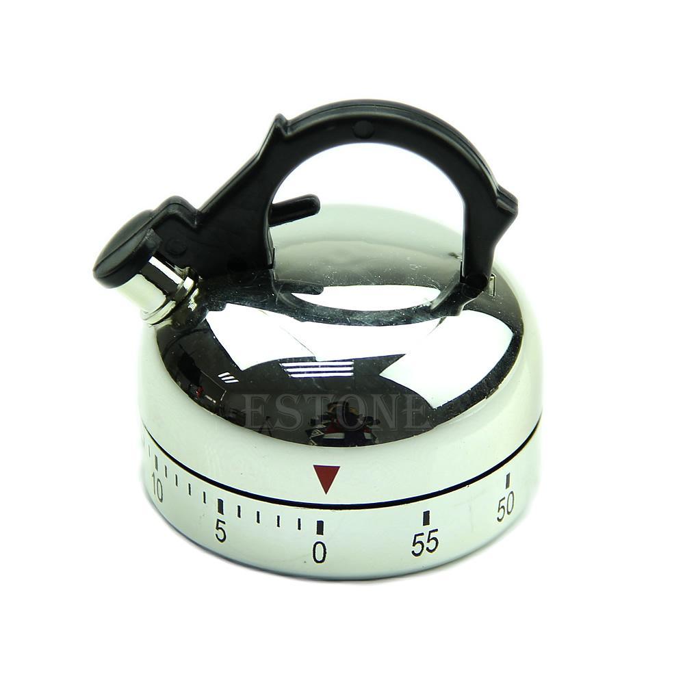 Teapot Shape Home Kitchen Timer Bell Alarm Mechanical 60 Minute Clock Timer Z