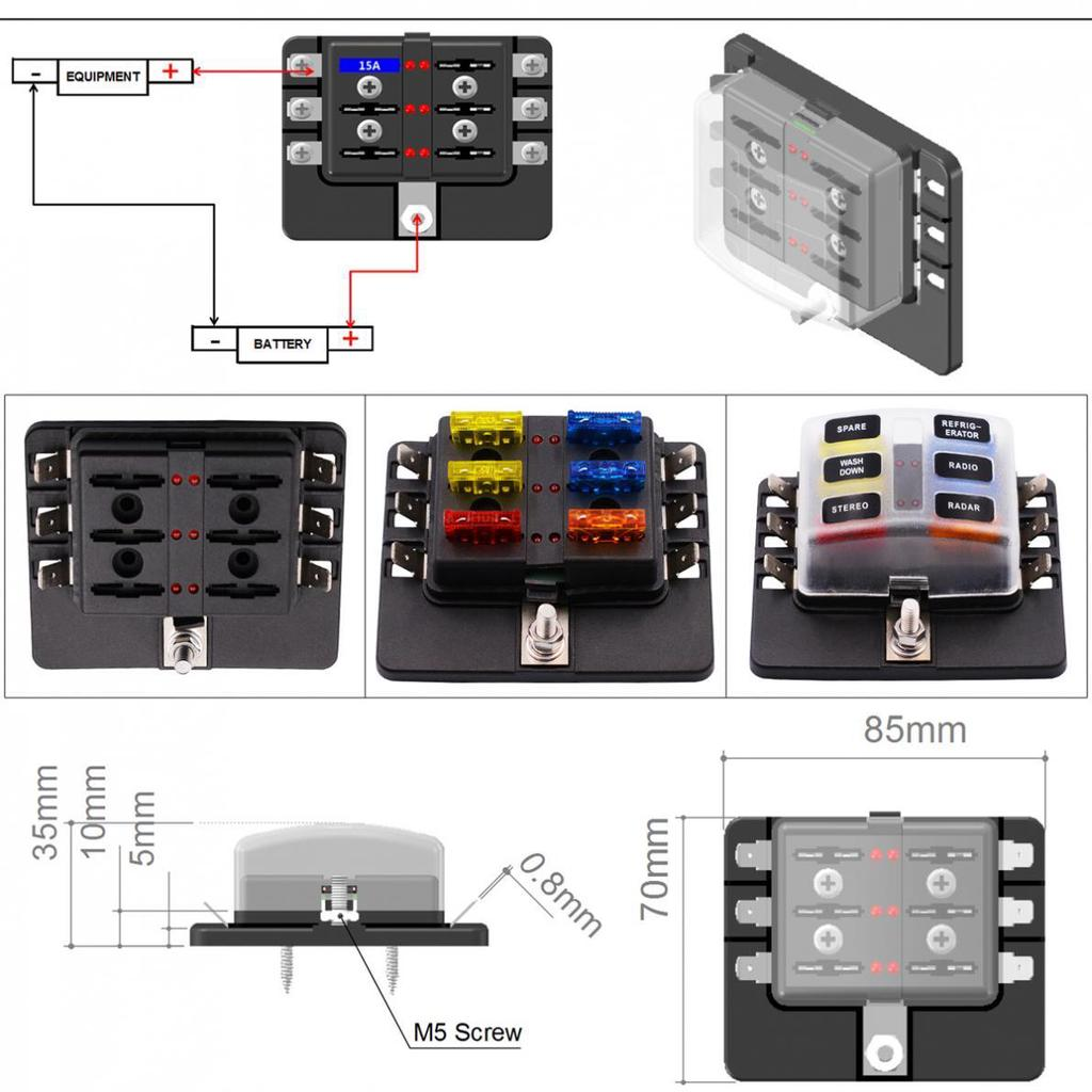 6-fach 6 Weg Way LED Fuse Box Auto KFZ LKW PKW Sicherungshalter Sicherungskasten