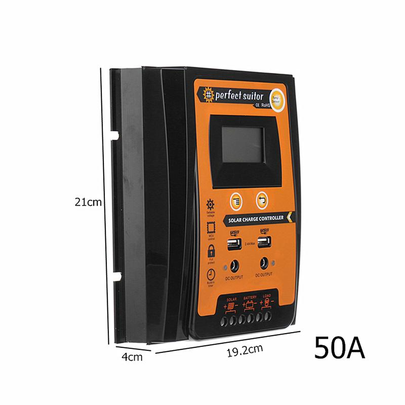30A//50A PWM Solar Charge Controller Solar Panel Battery Intelligent Regulator with Dual USB Port and LCD Display 12V//24V yellow 50A