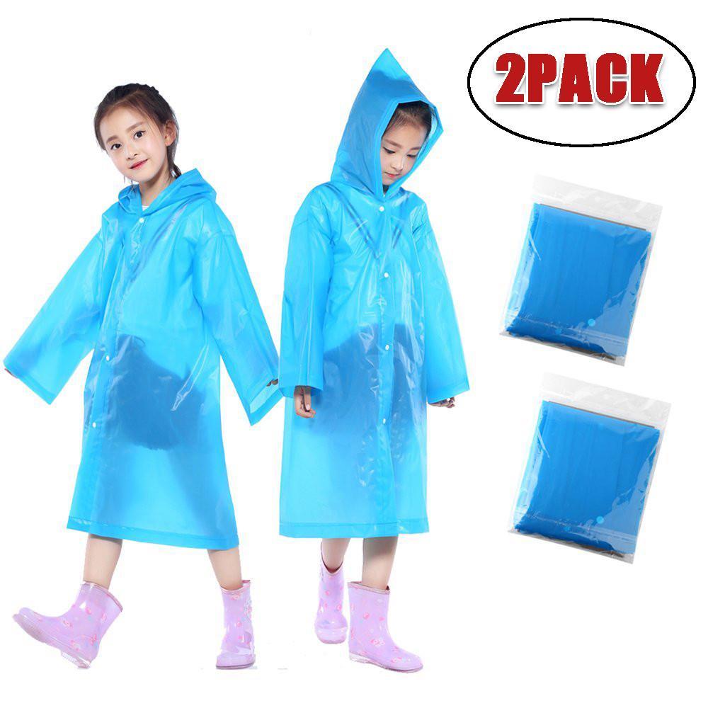 2PCS Kids Portable Reusable Raincoats Children Rain Ponchos 6-12 Years Old