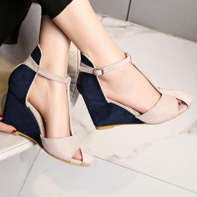 Women/'s Spring Hollow out Pumps Wedge Heels Ankle Strap Buckle Casual Shoes Size