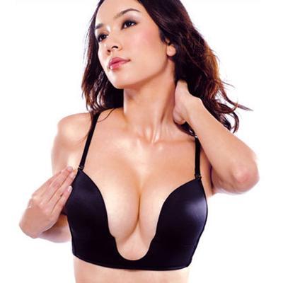495b960a26 Sexy Invisible Plunge Bra Detachable Strap Low Cut Women Deep U Backless Bra
