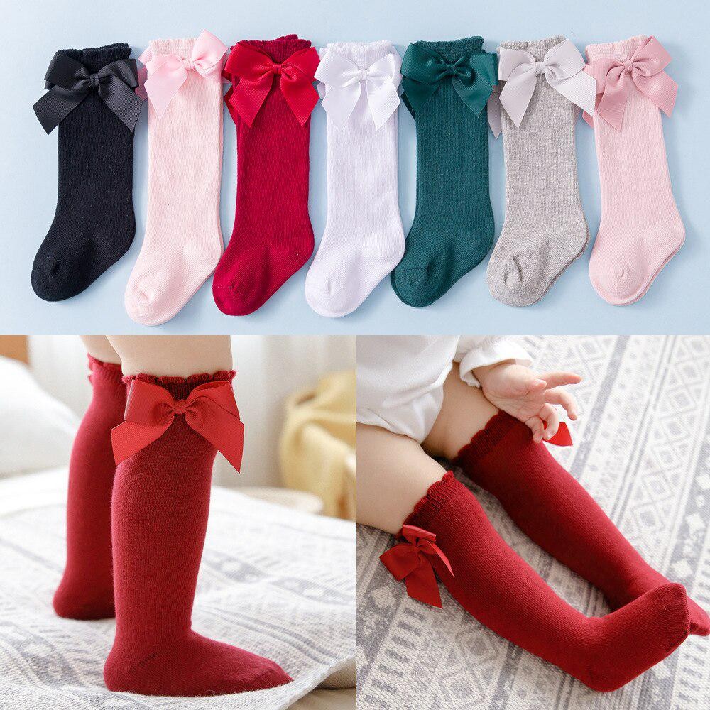Toddler Kids Baby Girls Knee High Long Socks Princess Bow Cotton Casual SOCK