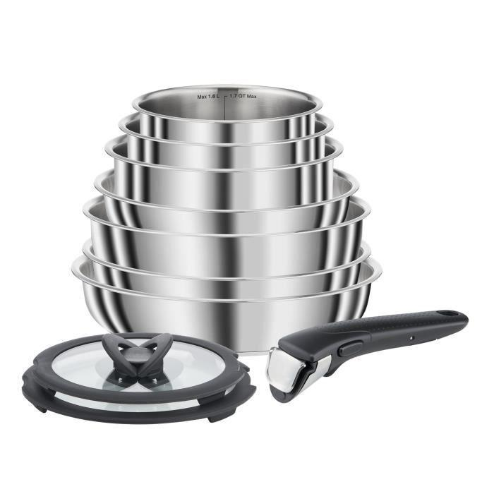 Seb Compact 10 piece Stainless Steel Cookware Set Including Induction L953sa04
