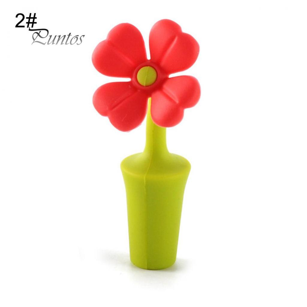 Cute Clover Wine Bottle Stopper Novelty Sun Flower Silicone Kitchen Tools