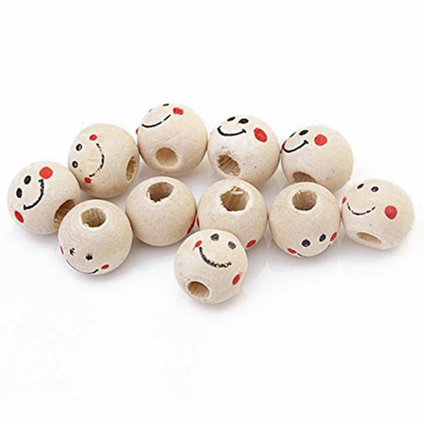 2x 40pcs Smile Face Wooden Round Ball Loose Beads DIY Craft Accessory 3mm Hole