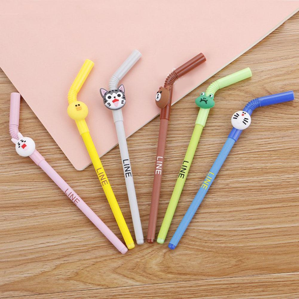 2 pcs Cute Insect Caterpillar Shape Promotional Gift Black Ink Writing Gel Pen