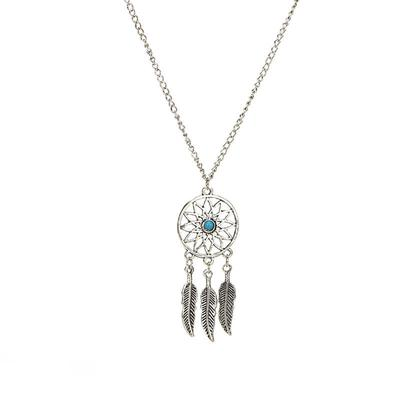 Bohemian Dreamcatcher Leaves Feather Pendant Necklace Earrings Jewelry Set MO