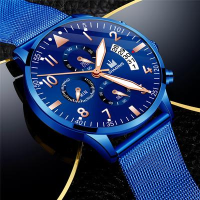 Men'S Deluxe Rose Gold Quartz Watch Fashion Blue Glamour Clock Man Gift