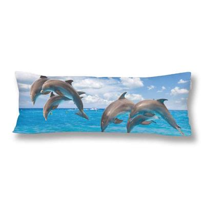 Jumping Dolphin Seascape With Turquoise Sea Waters Cloudscape Body Pillow Cover Case 20x60inch 50x150cm Buy At A Low Prices On Joom E Commerce Platform