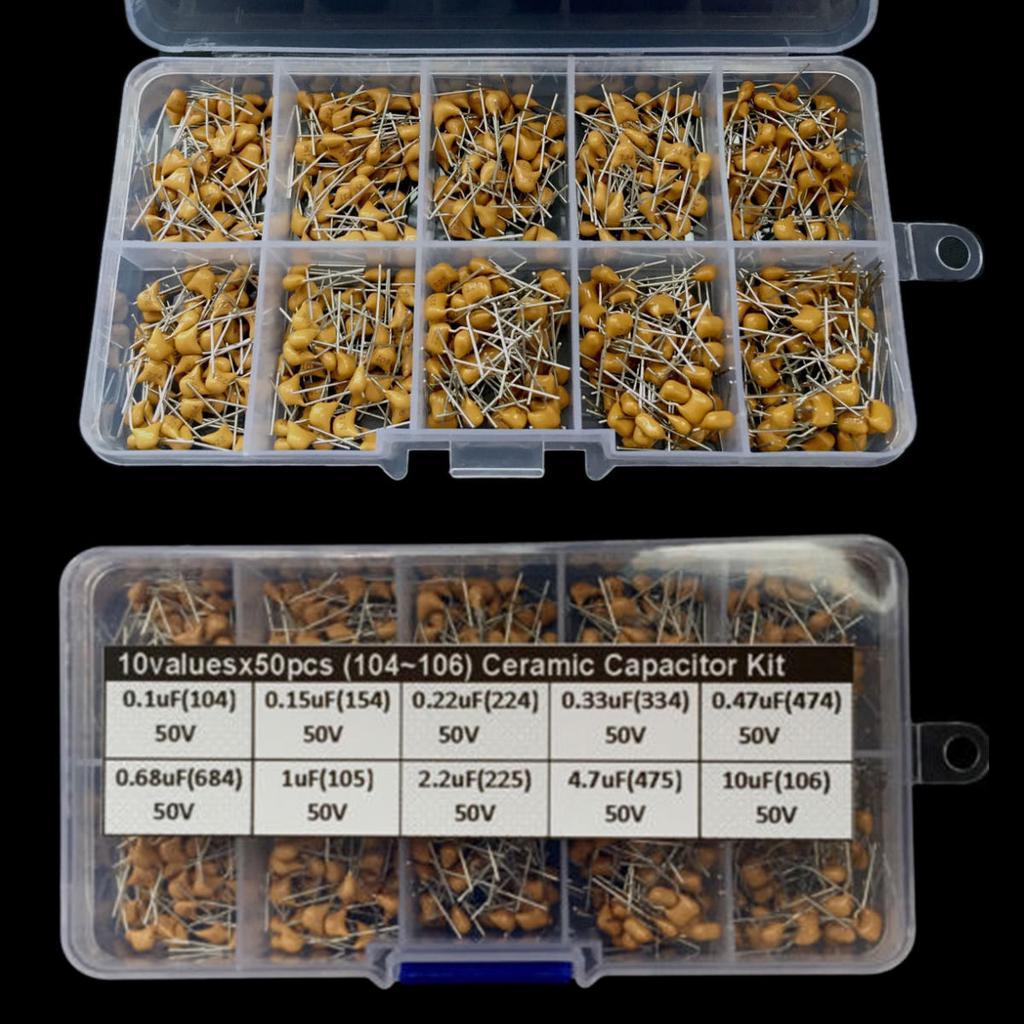 500Pcs 10 Value 0.1uF~10uF  50V Electronic Ceramic Capacitor Assorted Kit