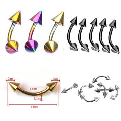 Multicolor Curved Barbell Eyebrow Rings Earring Ear Stud Body Piercing Jewelry