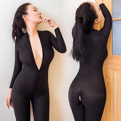 Women Sheer Bodysuit Romper Smooth Fiber Double-end Zipper Long Sleeves Jumpsuit