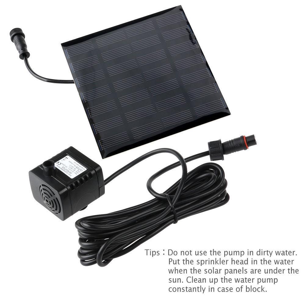 180L//H Solar Panel Power PET Kit Water Pumps Fountain Fish Pond Aquarium Black