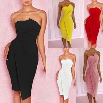 c8a6f5f0e1462c Fashion Off Shoulder Party Dress Frontowa suknia wieczorowa asymetryczna