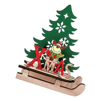 Diy Wooden Christmas Ornaments Sledge Shape Christmas Decor For Home Store Office Small Snowman Buy At A Low Prices On Joom E Commerce Platform