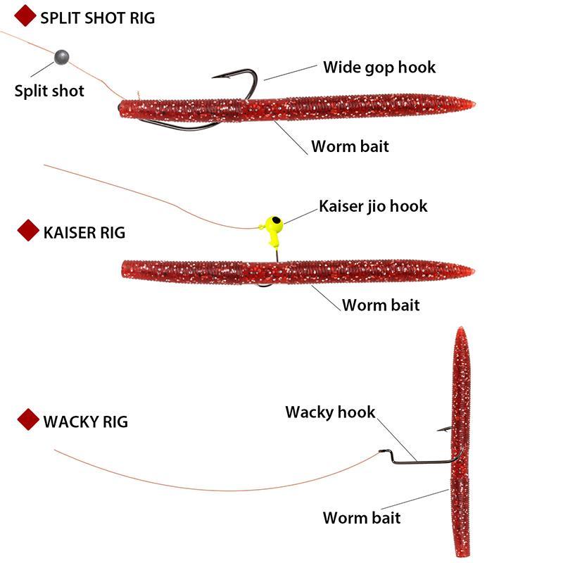 Sougayilang Fishing Worms Soft Senko Bait Plastic Fishing Lures Wacky Rig Grub Hook Tackle Swivel for Bass Trout Fishing